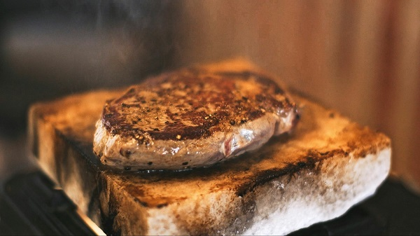 Salt Block Steak with Rosemary Potatoes and Watercress