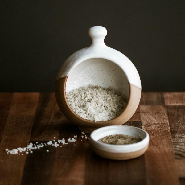 Salt Pig & Pepper Pinch Pot - White