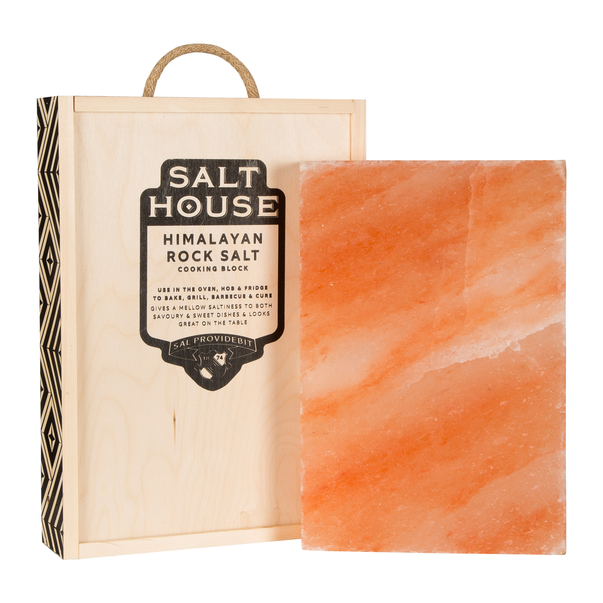 Salthouse Rectangle Himalayan Salt Block, guide book with recipes and bespoke box